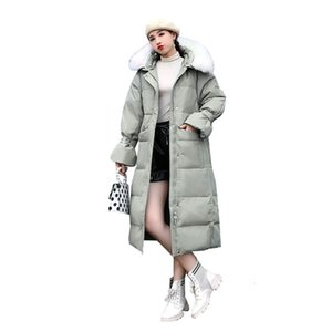 New 2019 Autumn Winter Down jacket Women Oversized Fur Hooded Female Parkas Long Warm Thicken Loose Womens Outerwear Coat YH405