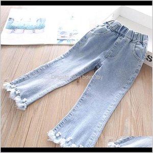 Denim Pearl Tassels Girls Trousers Spring Autumn Kids Skinny Jeans Wide Leg Pants Children Clothes 2-6Y B3972 Buft2 Xgbab
