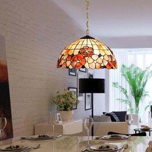 Pendant Lamps Mediterráneo Europeo Colgante De Concha Mar Tiffany Comedor Balcón Dormitorio Estudio En El Casa Jardín