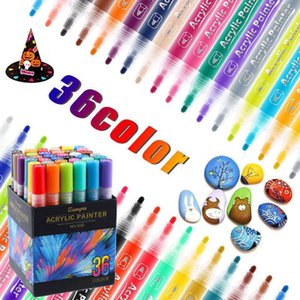 4-36 Colors Acrylic Paint Marker Pens for Rock Painting Stone Ceramic Porcelain Mug Wood Fabric Canvas Marking Pens Art Supplies