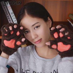 Five Fingers Gloves Women Winter Wrist Arm Warmer Knitted Keyboard Long Fingerless Mitten Cute Cat Plush Warm Fashion Girl