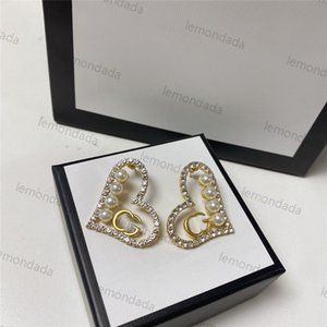 Shiny Diamond Charm Earrings Luxury Letter Ladies Earring Fashion Pearl Classic Valentines Annivesary Gifts For Women Ear Jewelry