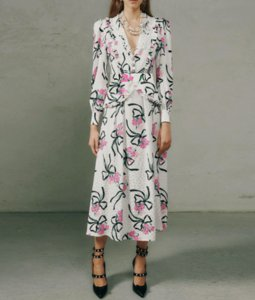 European and American fashion women's spring 2021 new V-neck, long sleeves and waist - tucked temperament print large skirt MIDI skirt