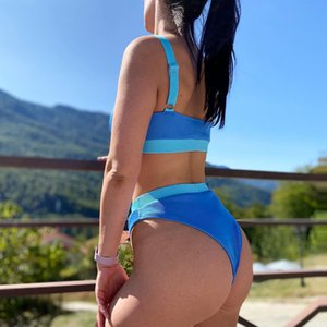 2 Piezas Set Para mujer Cintura Alta Bikinis 2021 Swimsuits Bandeau Swimwear Women Splicing Biquini Beachwear Sports Cytbed Traje de baño