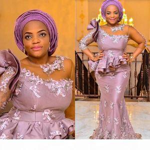 Arabic Aso Ebi Elegant Mermaid Evening Gowns 3 4 Long Sleeves Applique Lace Beading Floor Length Plus Size Prom Dresses