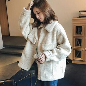 Women Teddy Coat Autumn 2020 Plush Winter Faux Fur Jacket Coat Women Turn-down Collar Plus Size Overcoat
