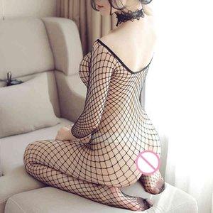 Bodystockings a rete Sexy BodyStockings Abbigliamento tentazione erotico Abbigliamento Big Netting Hole Body Transparent Biancheria intima Costumi