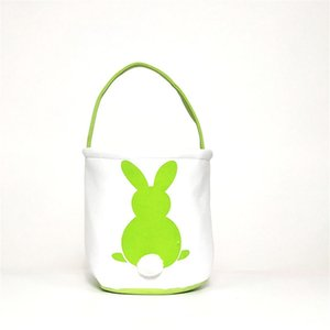 10 Styles Easter Bunny Tote Bucket Personalized Canvas Gift Basket With Rabbit Tail Children Candy Eggs Storage Bag Party Decoration 518 V2