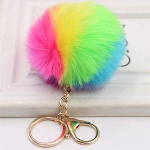 DHL бесплатный пушистый металлический сплав брелок кулон милый помпам искусственный кролик меховой шариковой ключ цепь сумка автомобиль ключ кольцо повесить сумку 8 см 250 w2