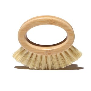 Wooden Handle Cleaning Brush Creative Oval Ring Sisal Dishwashing Brushs Natural Bamboo Household Kitchen Supplies Free DHL