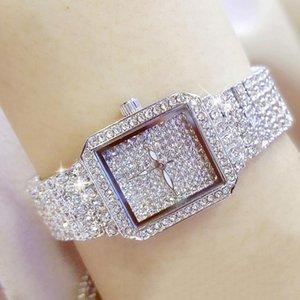 손목 시계 우아한 디자이너 BS 골드 여성 패션 시계 럭셔리 다이아몬드 몬트 테 여성 숙녀 팔찌 시계 Dourado Relogio Feminino