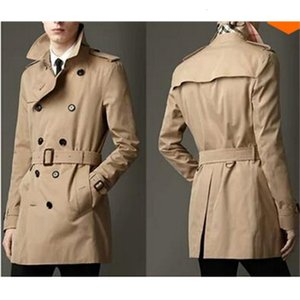 Fall-Blue khaki double breasted long black trench coat men british style trench coat pea coat men cheap mens winter coats belt 2xl