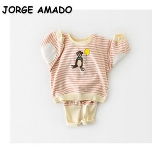 Wholesale 2021 Spring Baby Pajamas Sets Cartoon Bear Striped Girls Boys Home Suits Sleep Swear Kids Clothes E1013