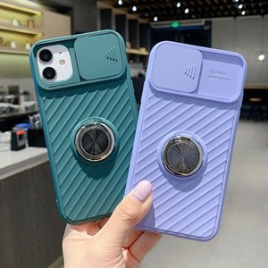 Cases For iPhone 12 Pro Max 11 XR XS X 8 Slide Camera Cover Ring Holder Silicone Case