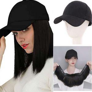 Wigs Shangke Human Hair Bob Pruik Baseball Cap Plugs For Women Short Right Of course Close Adjustable