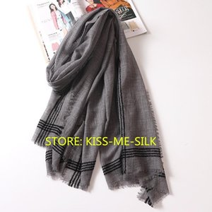 KMS The new high-end gray plaid pure wool scarf lengthened ultra-thin cashmere scarves 95*200CM 85G1