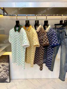 21ss Мужские Женщины Дизайнер Polos Двойная буква Вода Цвет Распечатать Случайные Высокое Качество Мода Мужчины Дикий Верх Синий Кофе