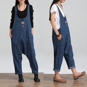 Women's Jumpsuits & Rompers Womens 2021 Summer Autumn Casual Denim Vintage Sleeveless Backless Solid Overalls Strapless Paysuits
