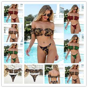 2021 Micro Swimsuit Women Bikinis Pleated Bandeau Sexy Bikini Set Chain Swimwear Female Luxury Aristocratic Swimming Suit 007