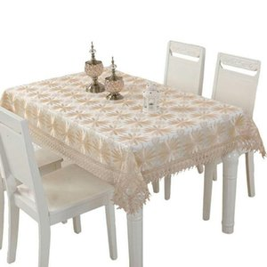 Simple Transparent Square Table Cloth Runner Rectangular Embroidered Round Tablecloth Cover Towels Wedding Home Room Decoration