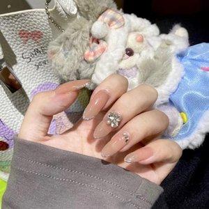 Pregos Falsos 2021 Ins Últimas Últimas Borda de Prata Borda Francesa Broca De Perfuração Manicure Terminado Falso Prego Patch