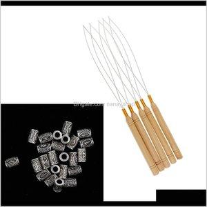 Sprays Care & Styling Tools Products Drop Delivery 2021 5Pcs Extension Loop Needle Threader Crochet Hooks + 24Pcs Tube Bead Dreadlock Braidin