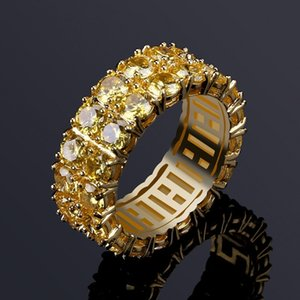 Mens Hip Hop Iced Out Rings Jewelry New Fashion Gold Wedding Ring Yellow Simulation Diamond Ring