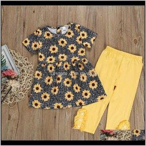 Designer Clothes Girls Sunflower Dresses Solid Pants 2Pcs Sets Short Sleeve Floral Girl Outfits Summer Kids Clothing Dhw3221 Bopem Rsw0U