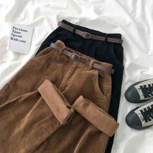 Pant Corduroy широкие ноги женщины осень зима винтаж коричневый черный повседневная высокая талия брюки свободные женские брюки с поясом