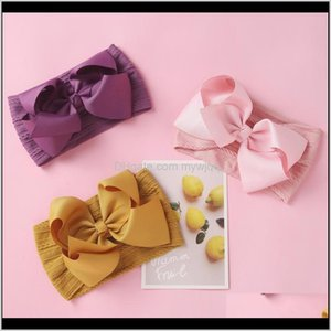 Baby, & Maternity Drop Delivery 2021 Cable Knit Ear Turban Bow Elastic Hairband Ribbon Baby Headdress Kids Cute Bows For Child Vintage Hair A