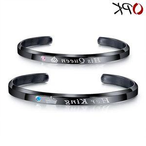 C-type open Bracelet Watch accessories titanium steel his queen her king lovers Bracelet