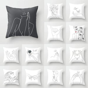 Minimalist style Figure geometric lines Pillow Case Cushion Cover Linen Throw Car Home Decoration Decorative Pillowcase 45*45cm