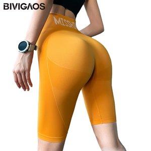 Shorts Bivigaos Verano Alto Cintura Deporte Mujeres Secado rápido Elástico Correr Fitness Rodilla Largo Motorista Entrenamiento Sexy