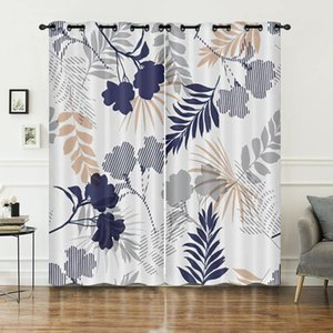 Curtain & Drapes Peach Blossom Leave Pattern 3D Print Palm Trees Tropical High Density Block Light Durable Customized