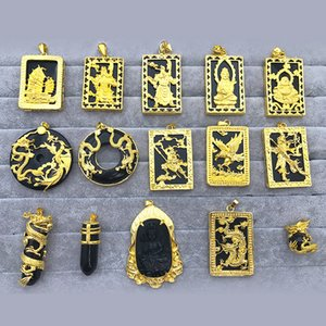 Dragon Pendant Gold Inlaid with Jade Obsidian Tag Jade Pendant Guan Gong Avalokitesvara Buddha Dragon Eagle Large Pendant Men
