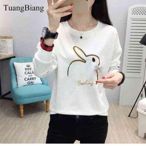 Tuangbiang otoño bordado conejo t shirts mujer manga larga abalorios femenino femenino talla grande tops de invierno camiseta mujer