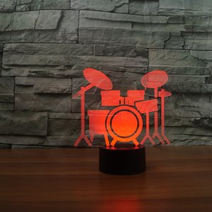 Drum Set 3D Night Light ,Touch 7 Colors Change, Optical Illusion LED Lamp USB Table Desk Lighting Kids Toy Bedroom Decor Xmas Holidays Birthday Gifts Boy Gir