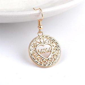 Hollow Love Coeur Dangle Boucles d'oreilles Maman Lettre Drop Gold Ear Crochet pour femmes Mama Mère Day Bijoux de mode en Bulk 299 G2