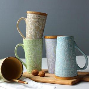 El-boyalı Seramik Kupa Kapaklı Kişilik Çift Süt Kupası Pastoral Çay CN (Origin) Çevre Dostu Kupalar