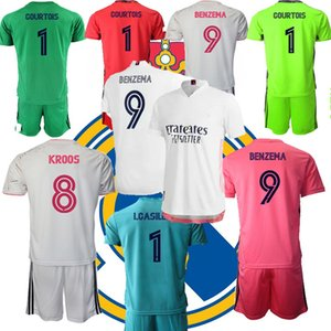 Kids 2021 Goalkeeper Football Jersey Courtois REAL MADRIDs Soccer Clothes VINI JR. HAZARD SERGIO RAMOS BENZEMA Camiseta Shirts Uniforms Children Kit Sets