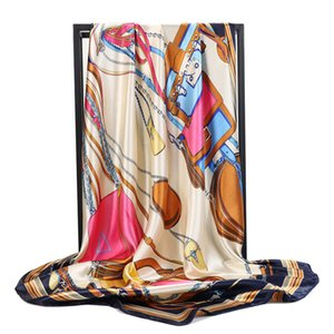 Early spring 2021 printed women's 90 * 90cm square Satin imitation silk scarf