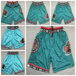 Memphis.Grizzlies.Retro Mens apenas Don College Basquetebol usa shorts 12 JA Morant 10 Mike Bibby Jaren 13 Jackson Costurado Sweatpants Hip-Hop Verde