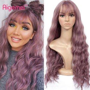 Perruque de cosplay de vague rose synthétique Aigemei avec une vague d'eau de bang 26inch cheveux pour femmes haute température couleur brun noir