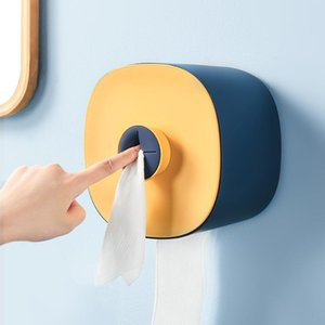 Tissue Boxes & Napkins Waterproof Toilet Paper Holder Wall Mount Punch Free Dispenser With Towel Bathroom Kitchen Supply