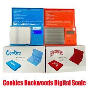 Cookies Backwoods Цифровые шкалы Красный синий Точница 700G 0.1G Ювелирные Изделия Золото Табак Стыкаш Вес Вес Весы Измерение Устройство Флип Стиль