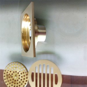 Uythner Bath Floor Drain 10*10cm Gold Bathroom Shower Square Drain Strainer Factory Direct Sales Bathroom Drain Floor T200715 604 R2