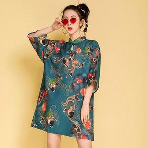 Летний национальный прилив Улучшена девушка Cheongsam Ежедневная молодая мода свободное платье этническая одежда