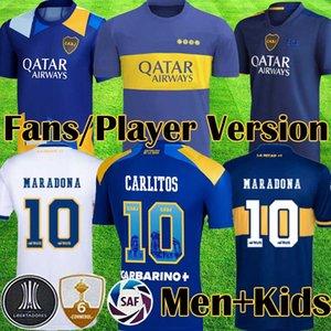 2021 탁월한 BOCA JUNIORS 제 3 플레이어 버전 팬 축구 유니폼 JRS 115 주년 기념 21 22 Camiseta Carlitos Maradona 축구 셔츠 키즈 키즈 장비