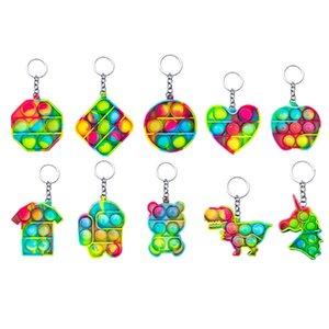 Zappeln Spielzeug Sensorische Schmuckschlüssel Ketten Push Bubble Poppers Einfache Grübchen Spielzeug Keychain Carabiner Stress Reliever