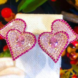 Dangle & Chandelier Fashion Sweet Romantic Korean Style Cute LOVE Heart Earrings For Women Bridal Wedding Girl Daily Fine Jewelry High Quali